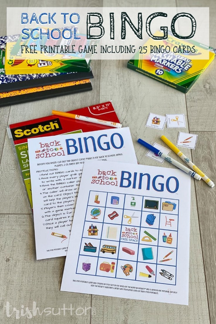 Bingo cards & laminate sleeves on a wood background surrounded by game pieces & school supplies.