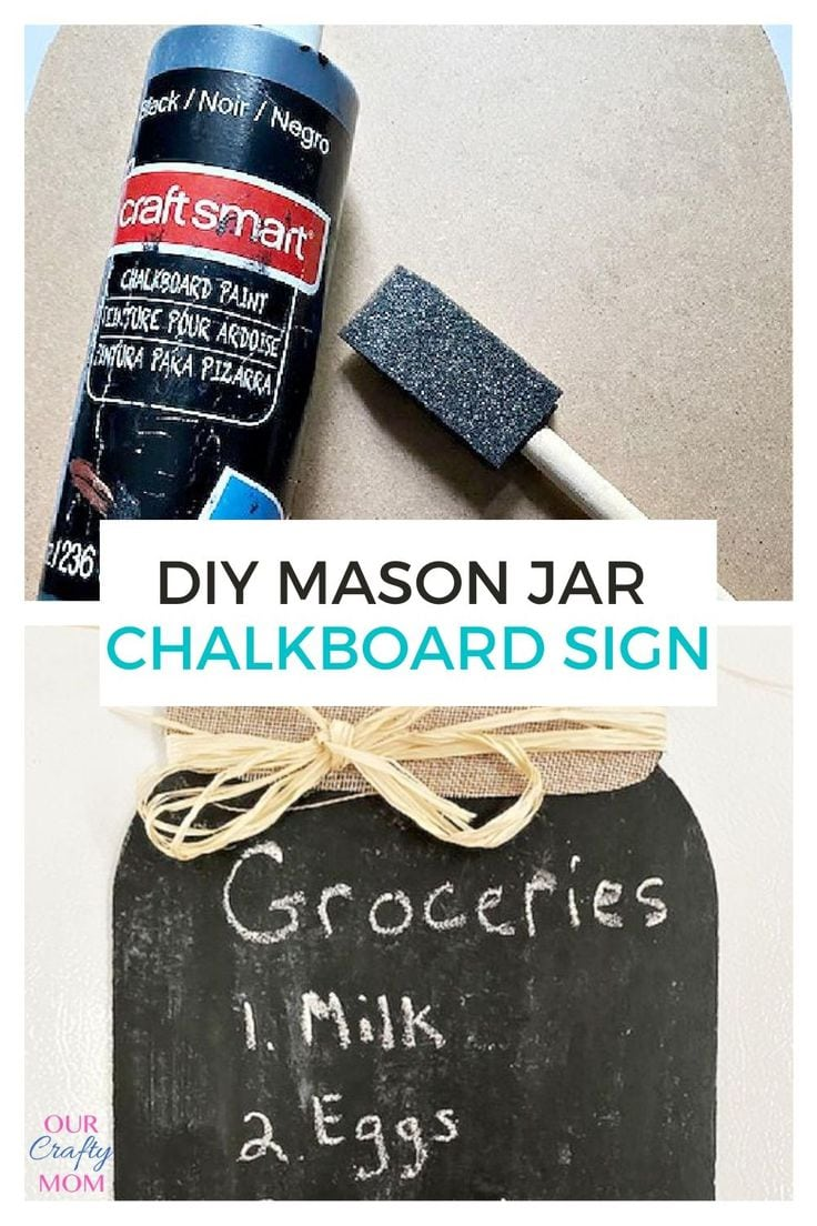 mason jar chalkboard supplies and finished sign