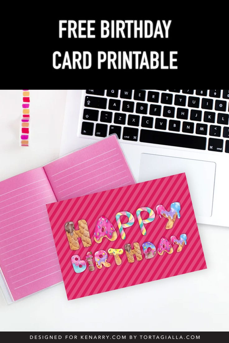 Preview of pink illustrated birthday card printable on desk with laptop and pink journal.