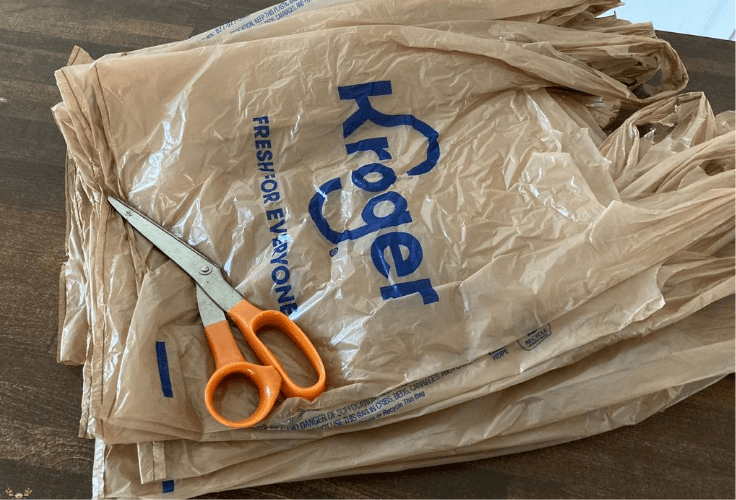 plastic shopping bags and scissors