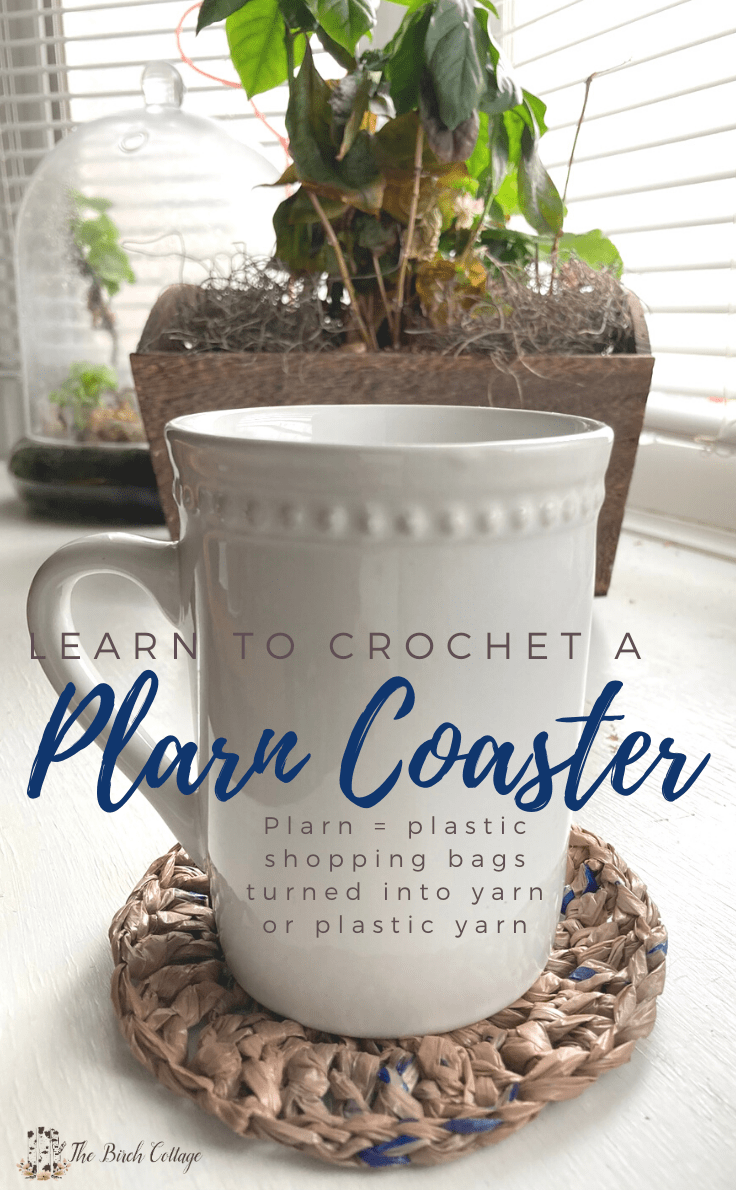 coffee mug, plarn coaster and plant