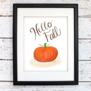 Hello Fall Printable Wall Art - Digital Print