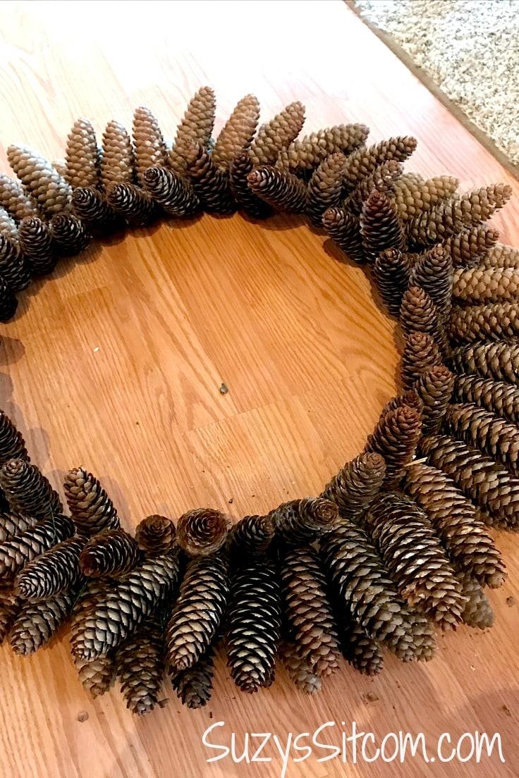 A pine cone wreath