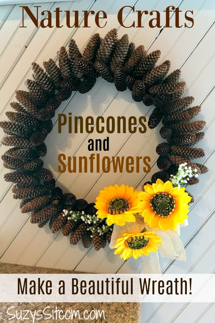 Nature Crafts - Pine cones and sunflower wreath
