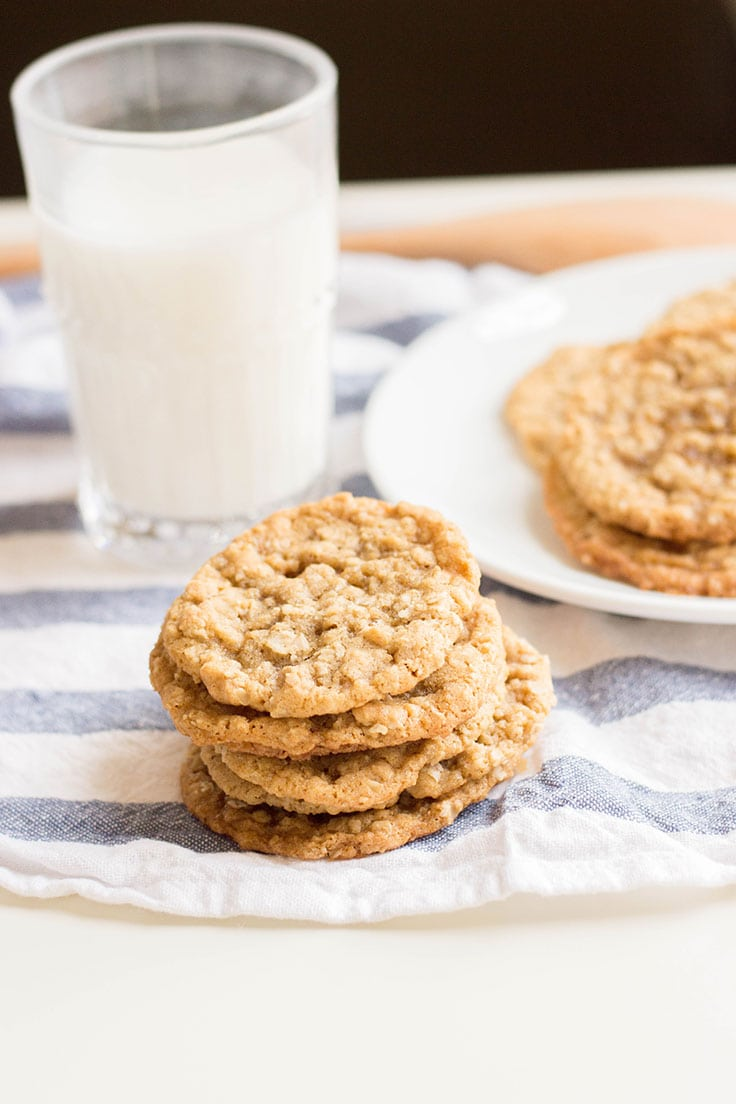 A delicious stack of classic oatmeal cookies.