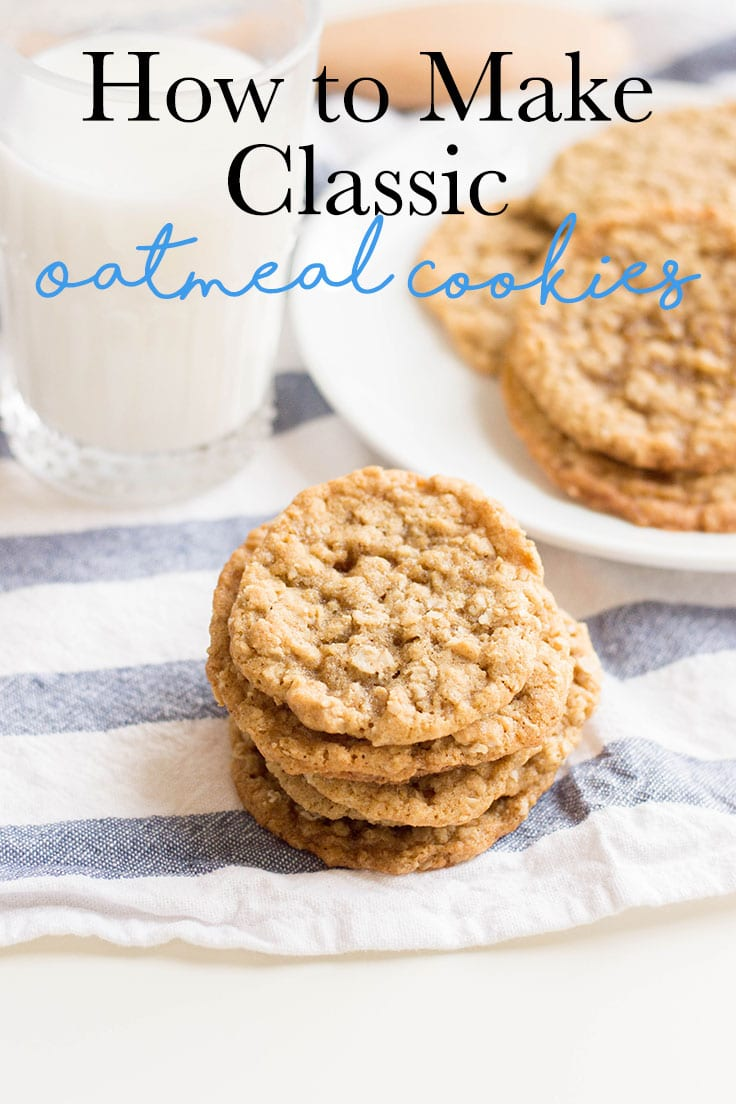 A stack of delicious homemade oatmeal cookies.