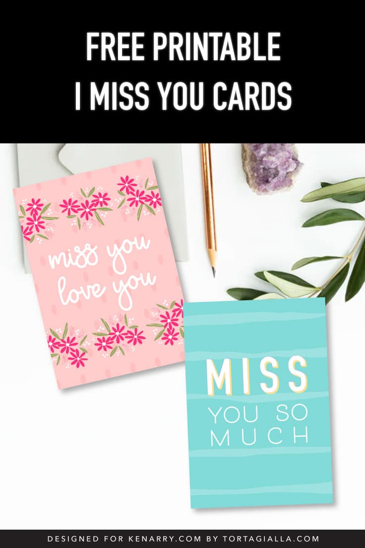 A preview of two printable i miss you card designs on desk with envelope, pencil, geode and plant leaves.