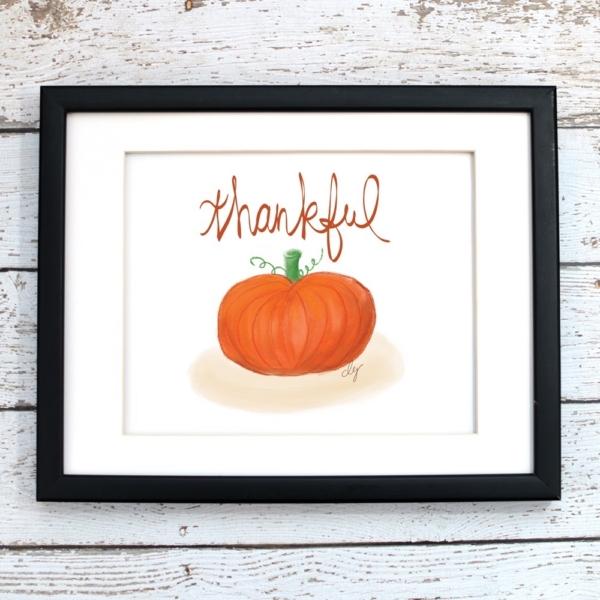 Thankful Pumpkin Fall Printable Art - Digital Print