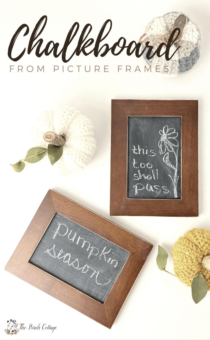framed chalkboards with pumpkins