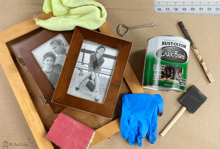 picture frames, chalkboard paint, paint brush, gloves, sand paper