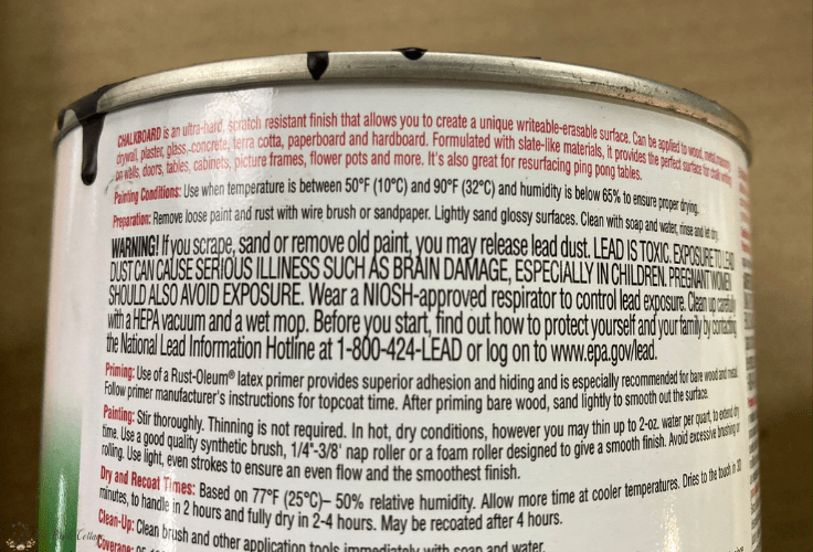 The back of a can of chalkboard paint.