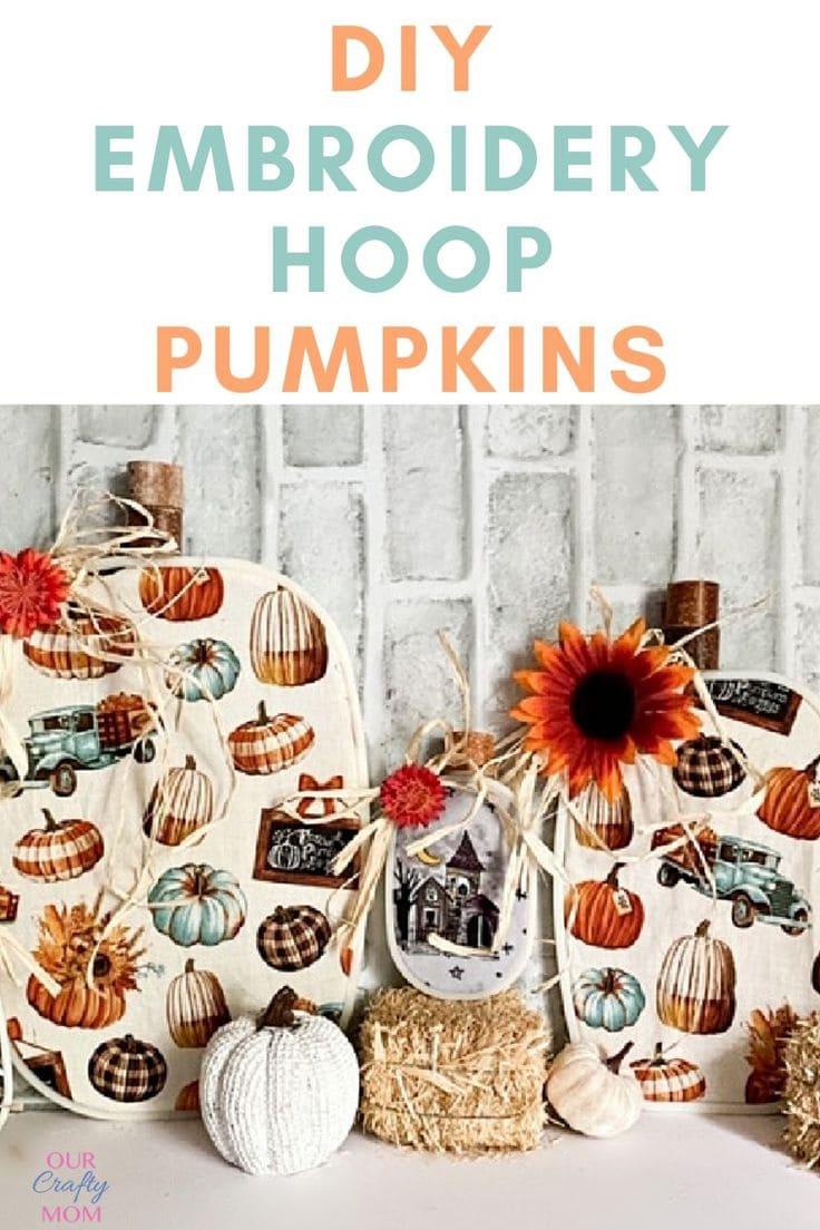 Embroidery hoop pumpkins set of 3 with white brick background