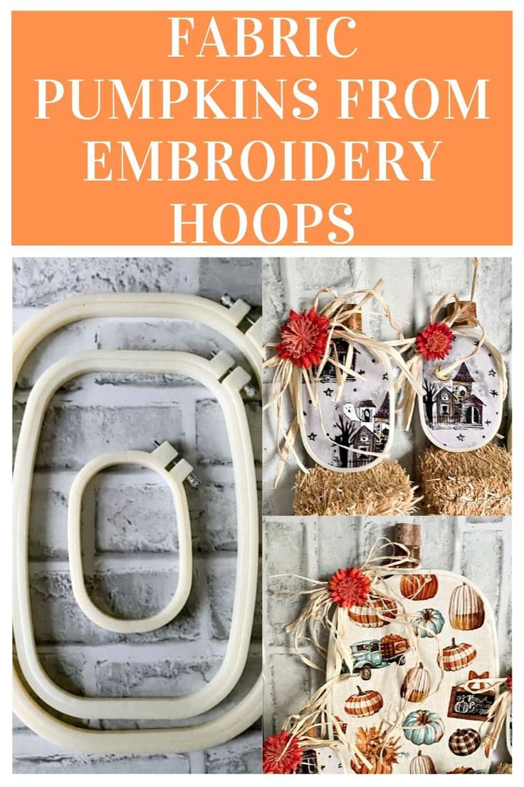 fabric embroidery hoop wreath collage