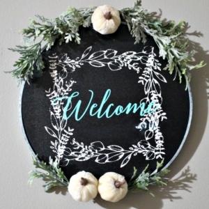 fall embroidery hoop wreath chalkboard