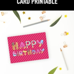 Preview of happy birthday printable card on desk with leaves, pencils and clips.