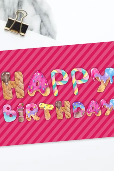 Preview of Pink Happy Birthday Card.