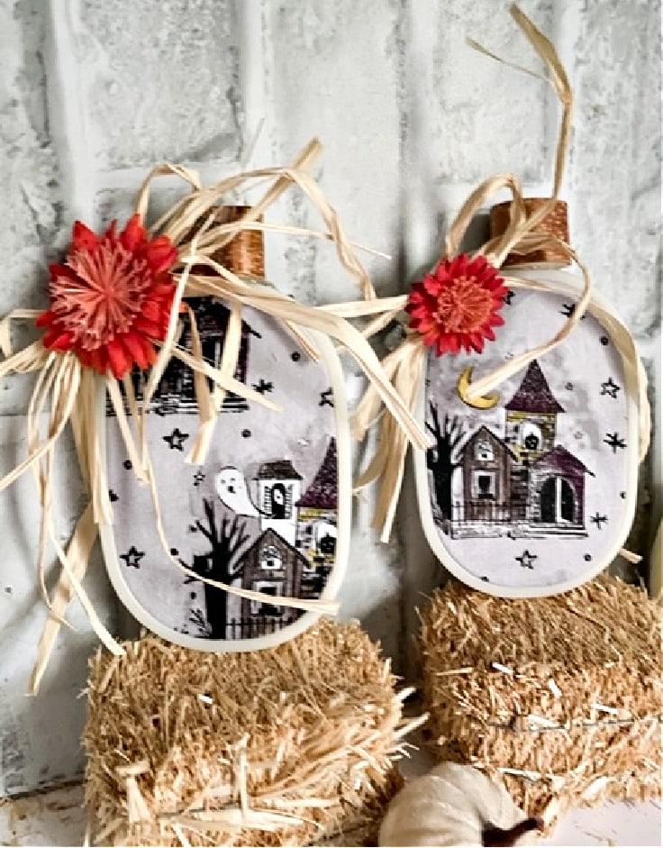 small halloween embroidery hoop pumpkins