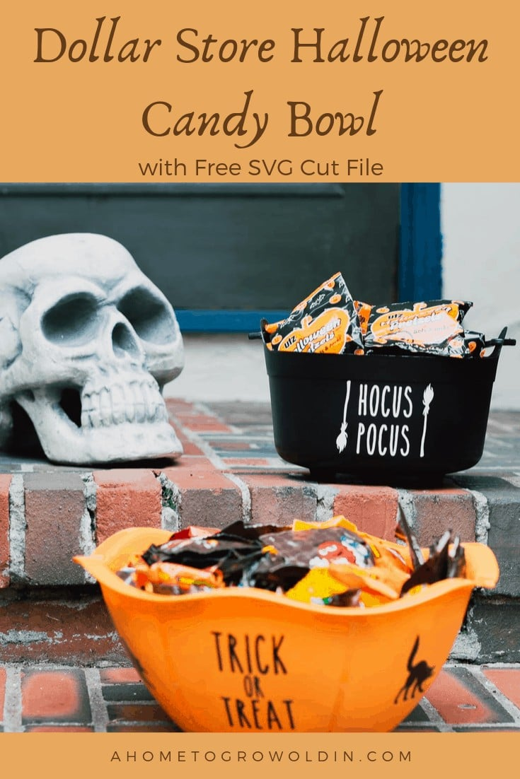Dollar Store Halloween Candy Bowl with Free SVG Cut File