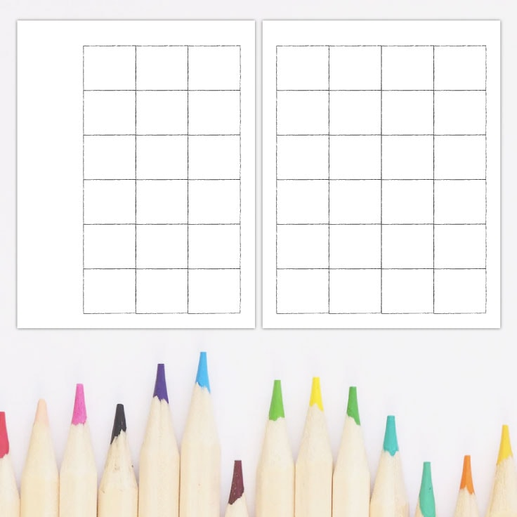 Preview of blank monthly calendar template with colored pencils.