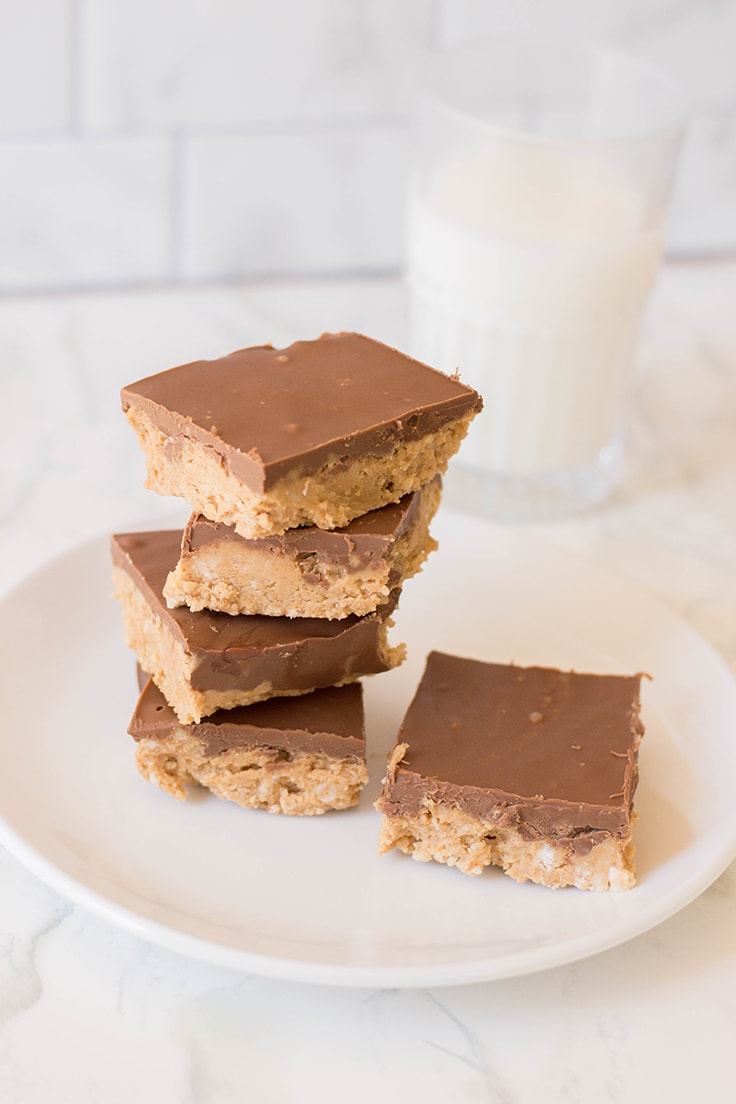 A gorgeous stack of Peanut Butter Bars - the easiest no-bake dessert out there!