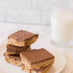 Milk and No-Bake Peanut Butter bars - an easy and simple dessert.