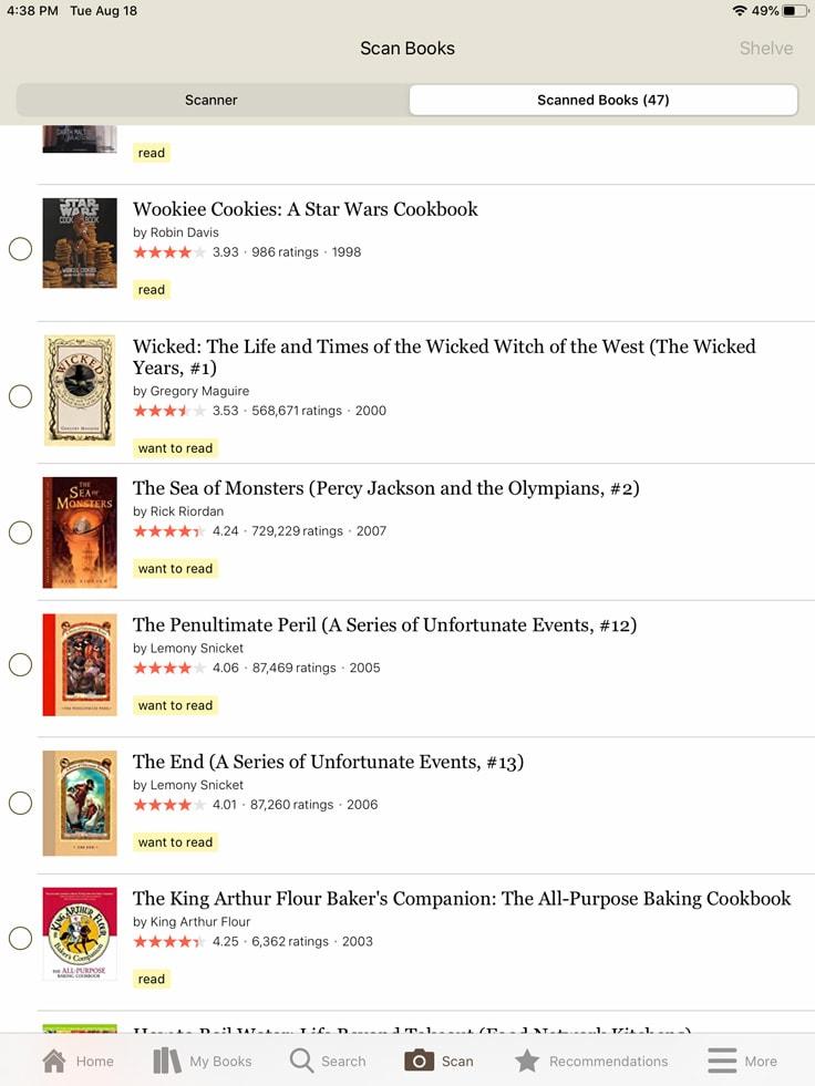 screenshot of Goodreads app scanning new titles