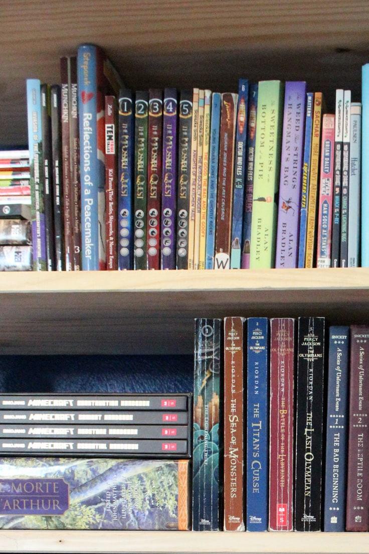 2 shelves of middle grade books