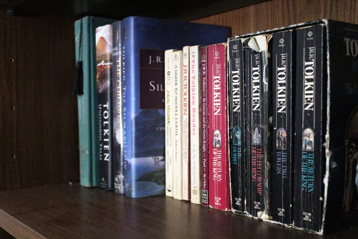 shelf of books by JRR Tolkien