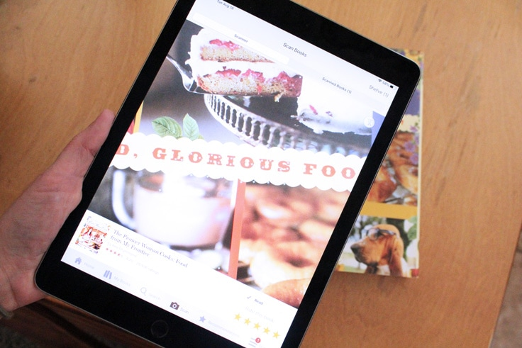 iPad scanning a cookbook into the Goodreads app