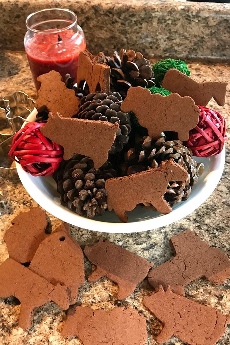 A plate of farm animal-shapped cinnamon ornaments