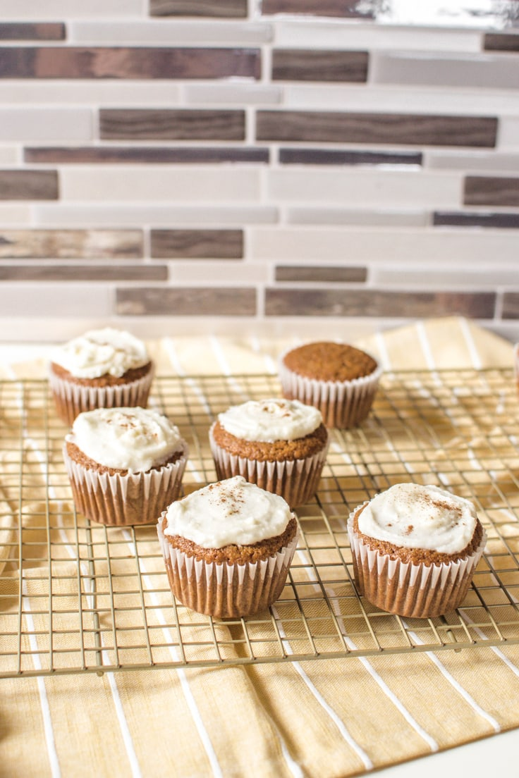 A delicious serving of Gingerbread Cupcakes - straight from the oven and made with a vanilla cake mix.