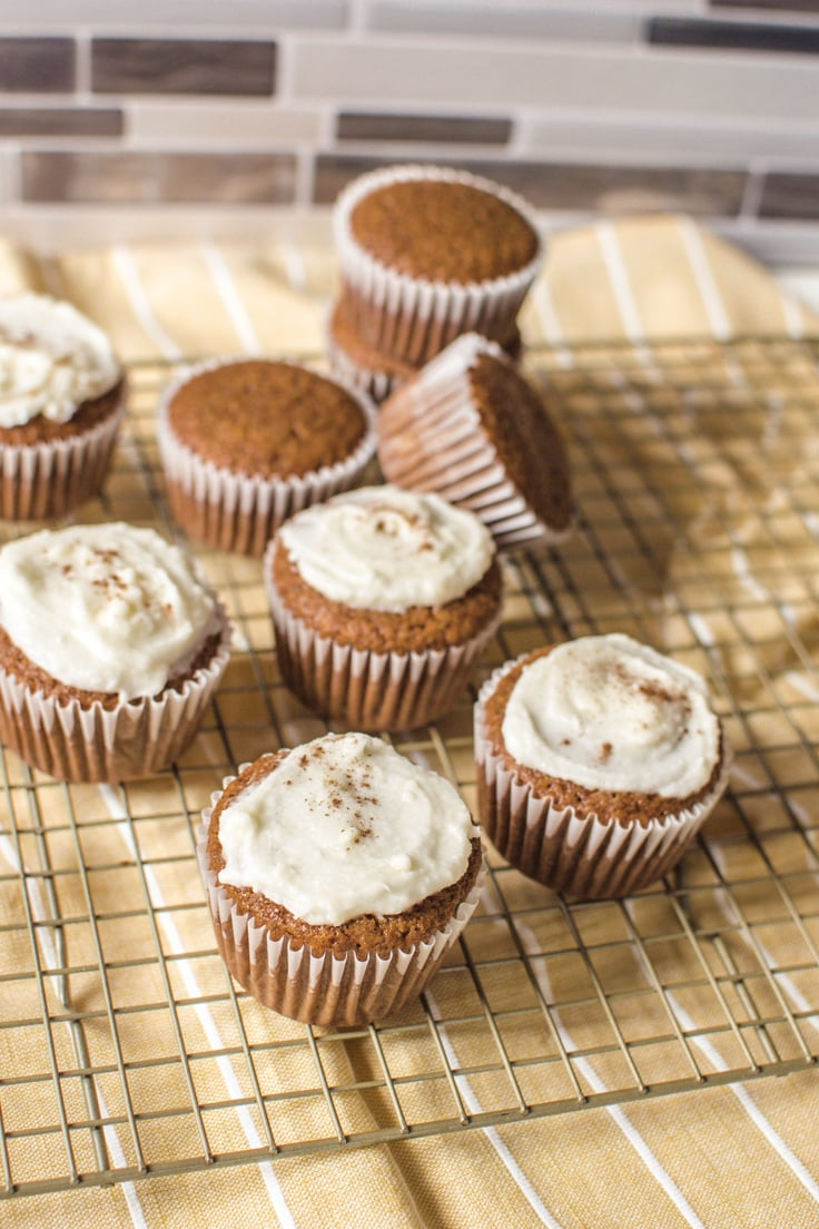 Gathering a small batch of Gingerbread Cupcakes - perfect for the holidays but still delish throughout the entire year.