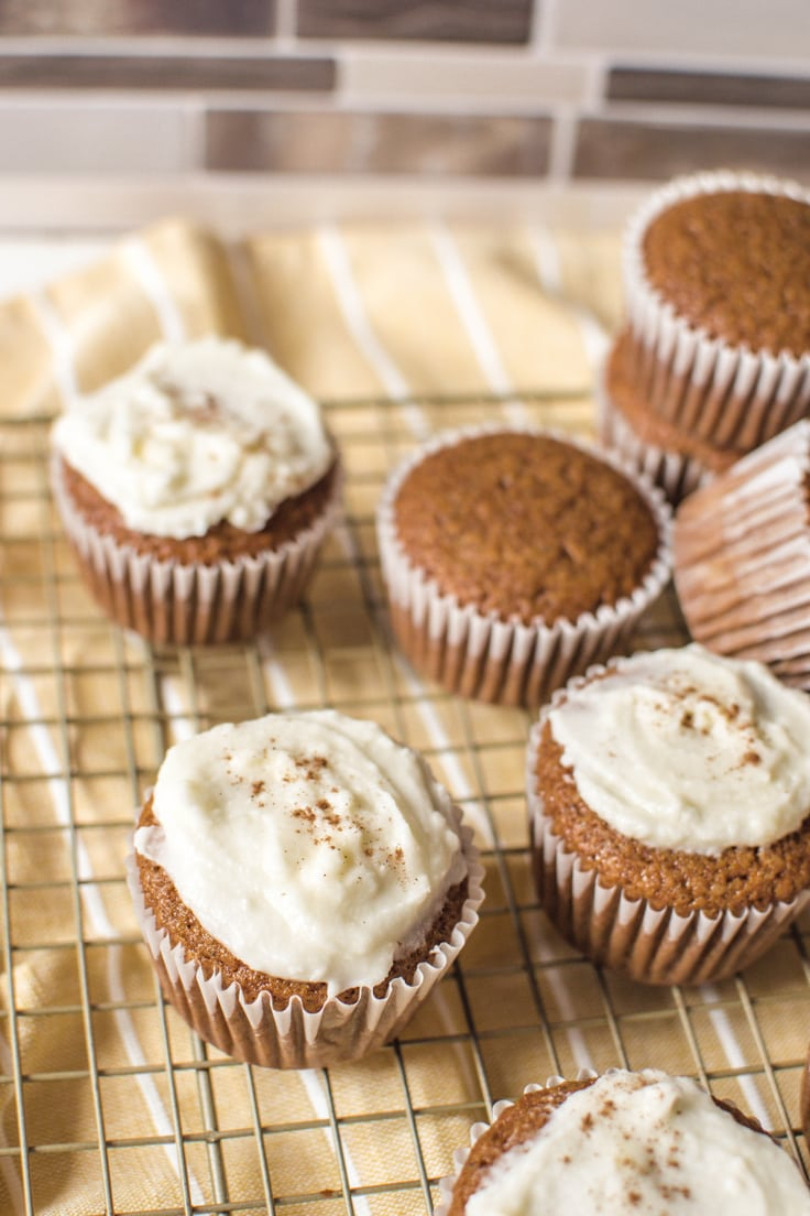A closeup of my delicious Gingerbread Cupcakes - made with a vanilla cake mix and a blend of delicious spices.