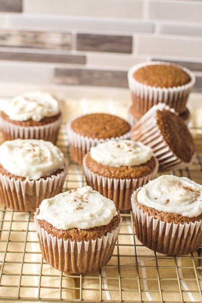 Glamour photo of the most delicious Gingerbread Cupcakes, made with a cake mix.