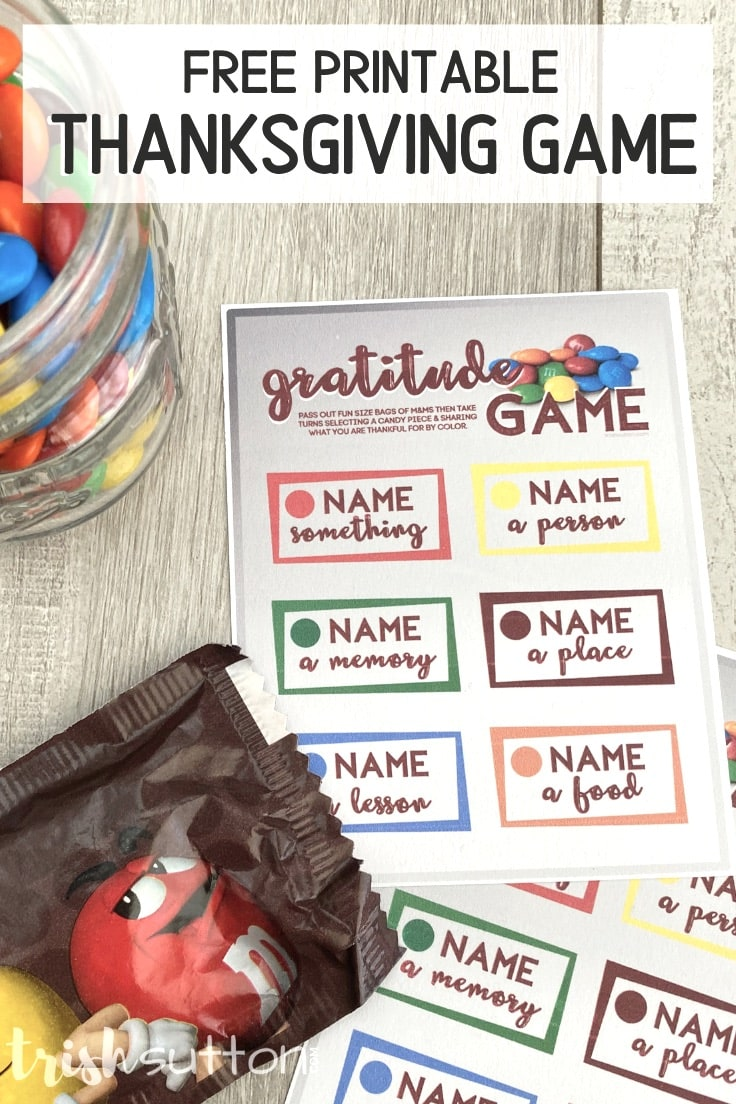 Gratitude Game card with a fun size bag of M&Ms candy.