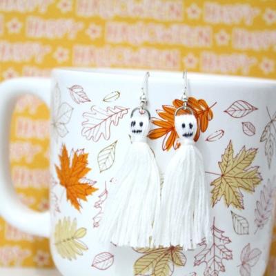 DIY Halloween Ghost Tassel Earrings Tutorial