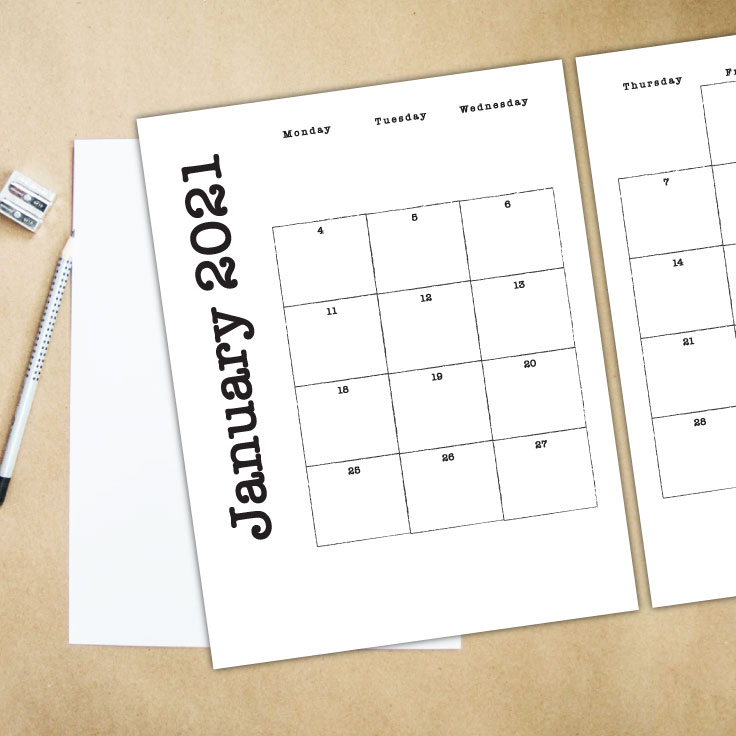 Monthly Calendar Printable for 2021 + Blank Template ...