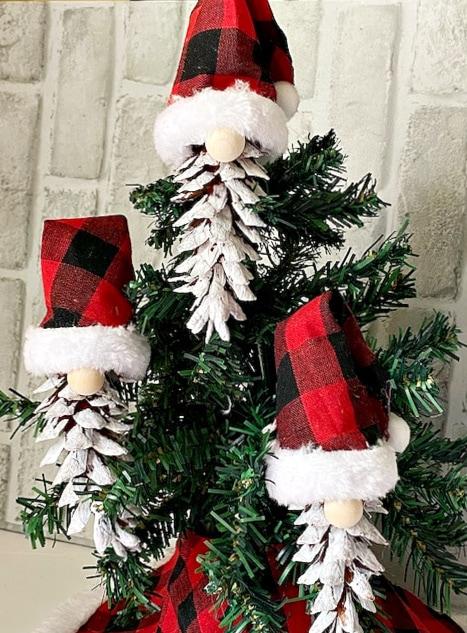 Set of 3 Pine Cone Gnomes on Tree