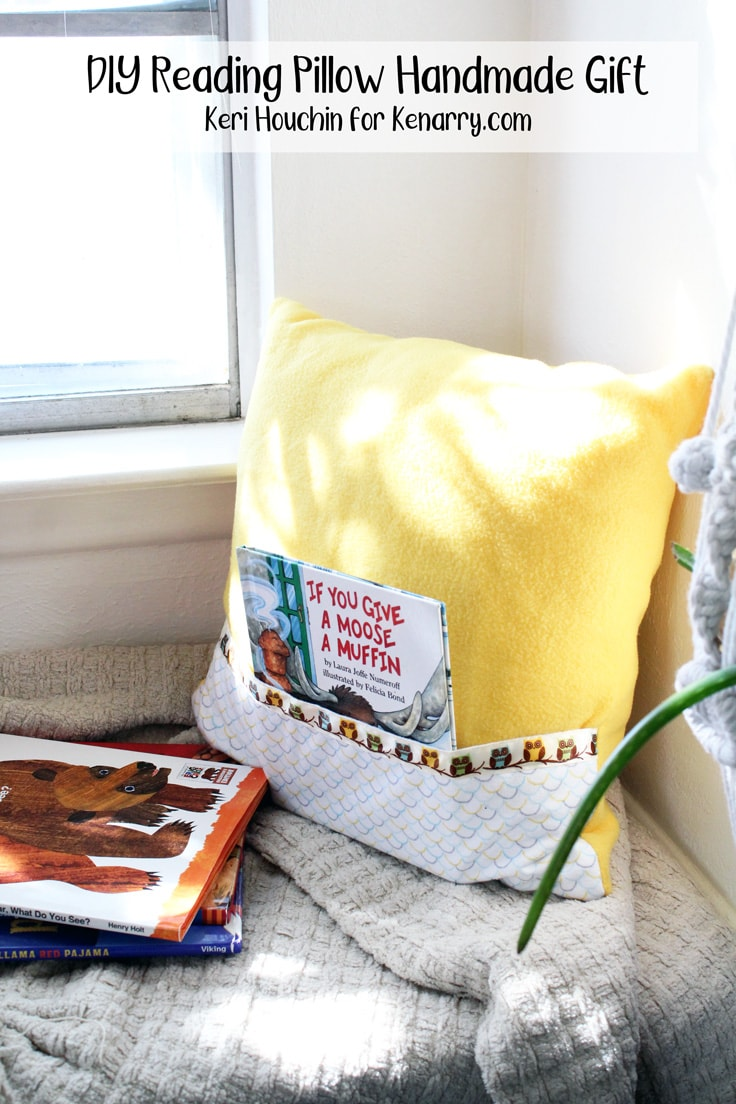 reading pillow with a pocket for a kids' book sitting in a window seat