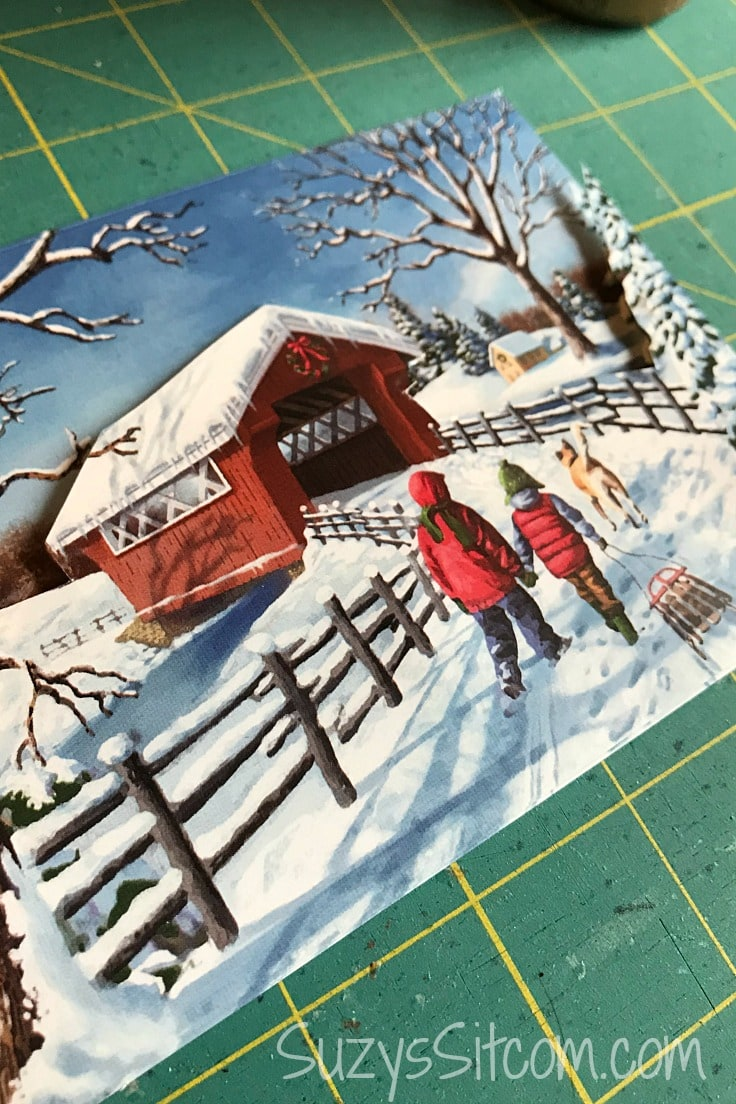 A close-up of a winter greeting card