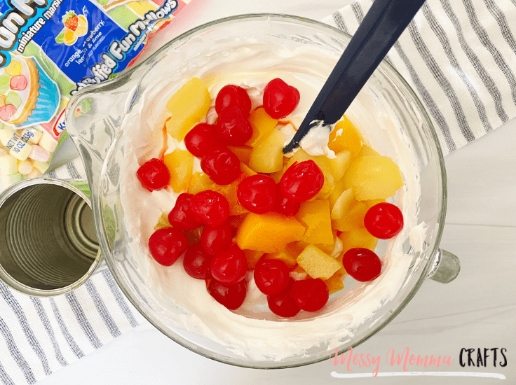 This Whipped Fruit Salad is the perfect no bake side dish for family dinners, just whip it up and serve it in an 8 x 8