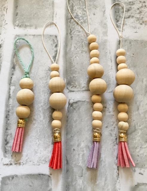 wood bead tassel ornaments