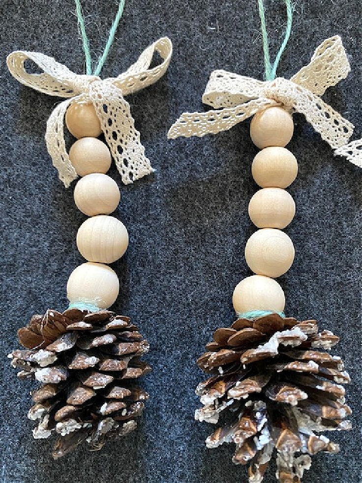 set of two wood bead pinecone Christmas ornaments