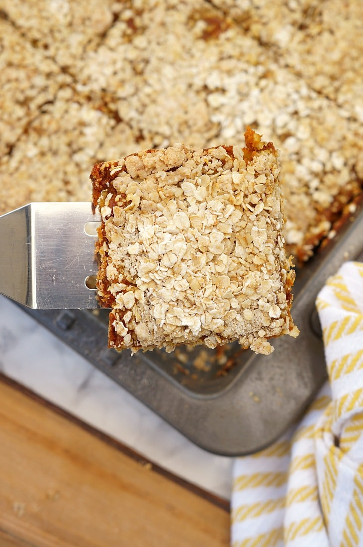 A spatula holding a pumpkin bar with oatmeal toppings