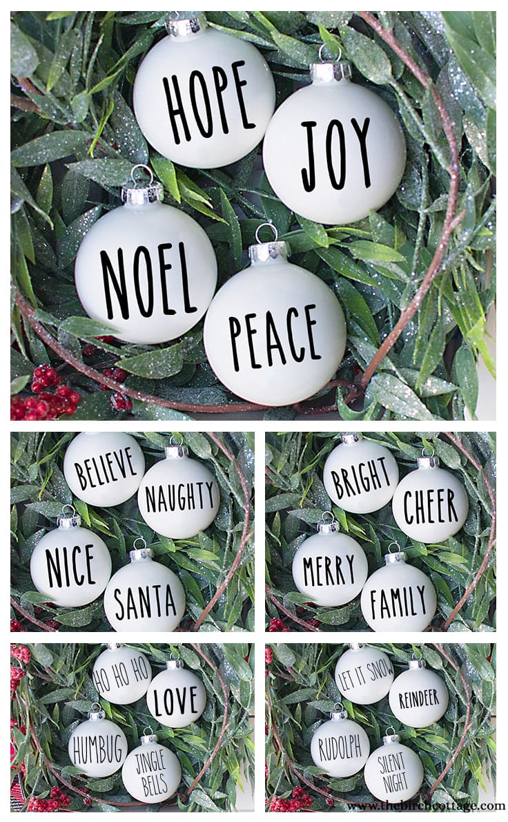 Use these 20 free Rae Dunn inspired SVG files to create your very own Christmas Ornaments with your Cricut or Silhouette cutting machines.