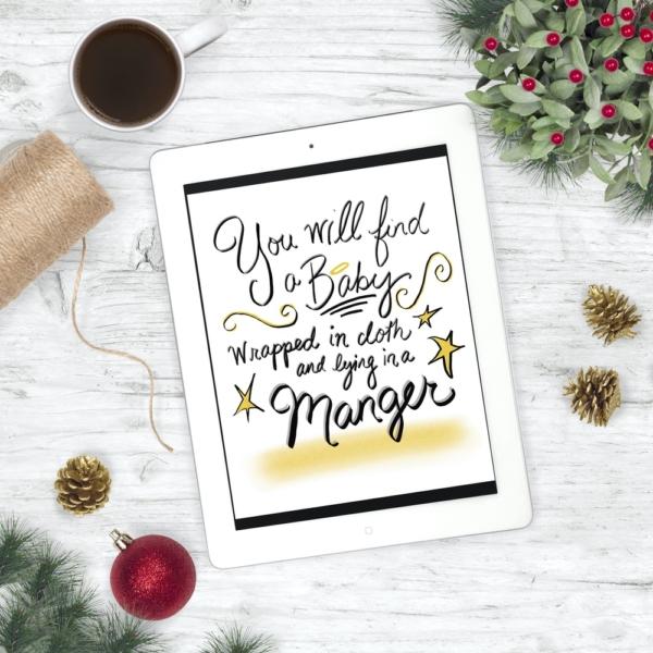 Baby Jesus in a Manger - Christmas Print - Digital Art