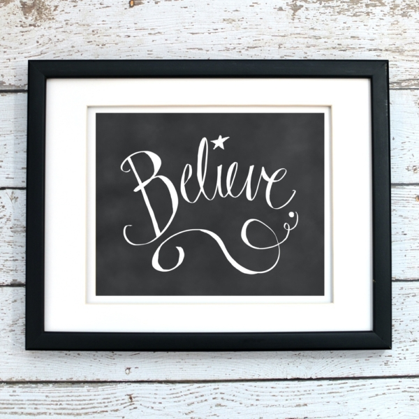 Believe - Chalkboard Christmas Printable - Digital Art