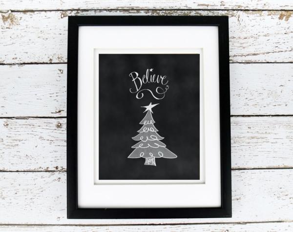 Believe with Christmas Tree Chalkboard Printable - Digital Art