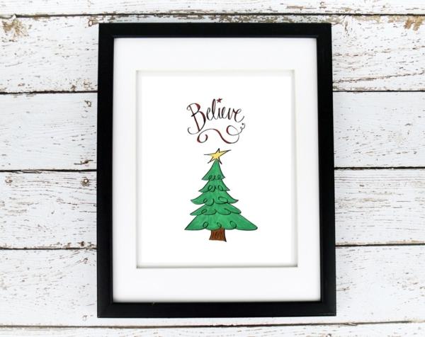 Believe with Christmas Tree Printable - Digital Art