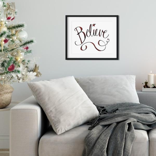 Believe - Christmas Printable - Digital Art